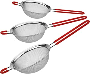 Szxc Extra Fine Mesh Food Strainers Set - 3 Pack (5 Cup + 2 Cup + 2/3 Cup) - Sifter Strainer for Pasta Rice Quinoa Tea Juice Flour Soy Milk & More - Stainless Steel - Dishwasher Safe