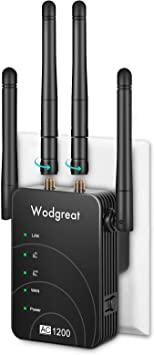 Wodgreat Repetidor WiFi AC1200 Amplificador Señal WiFi 5G y 2,4G WiFi Repeater Extender Enrutador Inalámbrico con 2 Puertos Ethernet 4 Antenas, Fácil ...