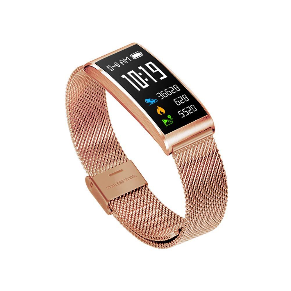 QKa Uomini, Cintura in Acciaio Sottile e Semplice, Motion Tracker, sfigmomanometro Intelligente orologio Impermeabile IP68. Regalo di Compleanno con pedometro,Metallic