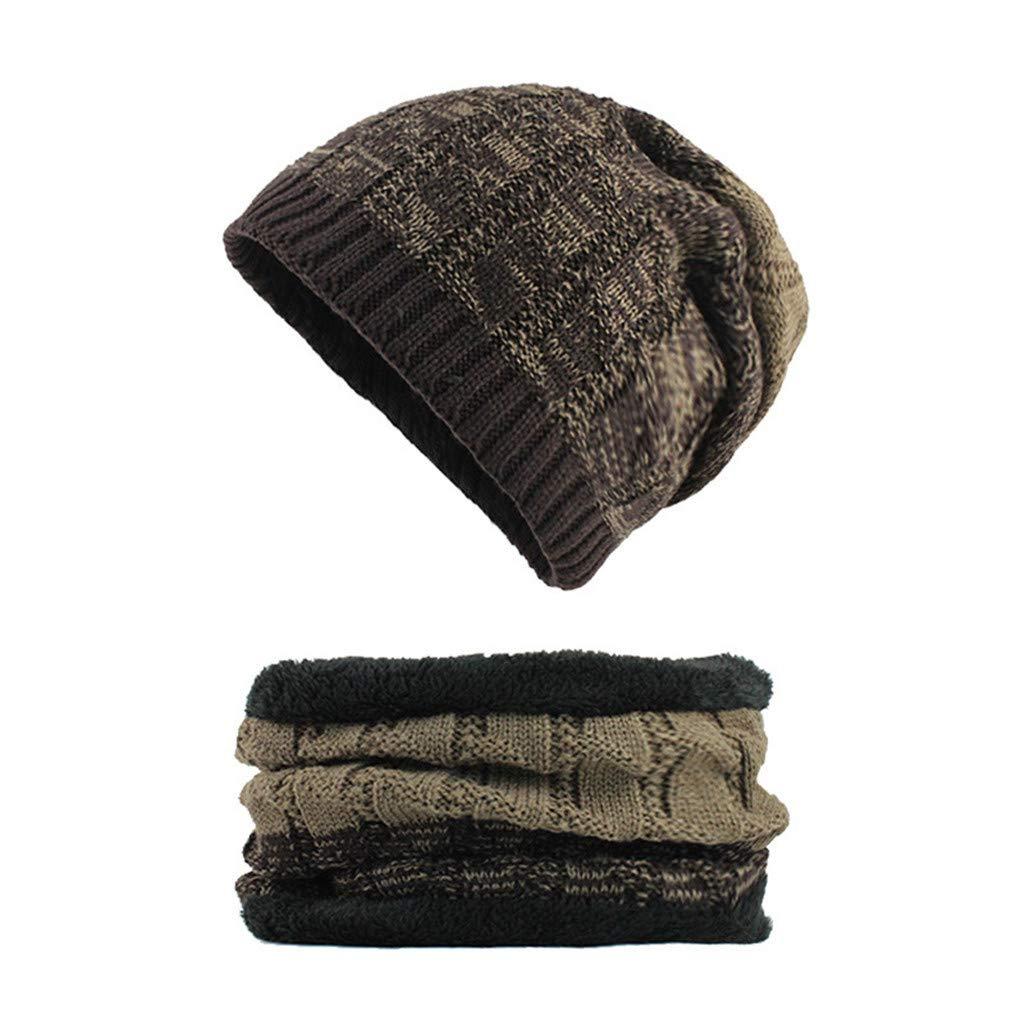 Men Womens Winter Knit Slouchy Beanie Baggy Warm Soft Chunky Stripe Hat Caps Pandaie-Womens Hats