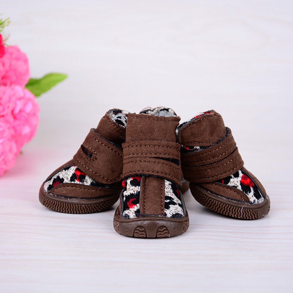 Brown-2 1  Brown-2 1  Dog shoes, Waterproof Non-Slip Pet Snow Boots Velcro Strap Wear-Resistant Oxford High shoes Winter Warm 4PCS Medium Small Dog Outdoor Sport shoes 2 color (color   Brown-2, Size   1 )