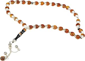 Yemen Aqeeq Rosary for Unisex, Silver & Brown