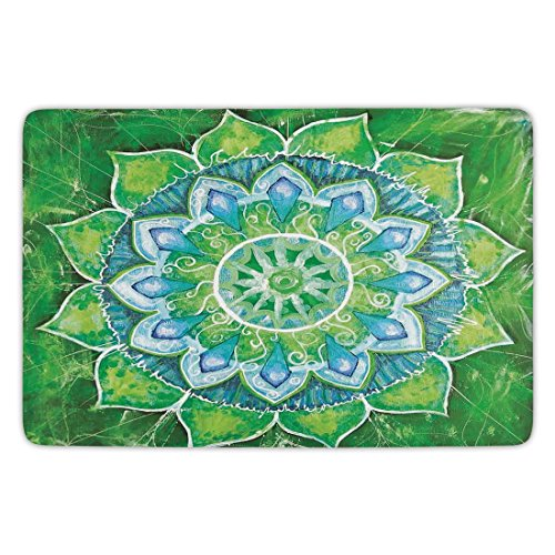 Bathroom Bath Rug Kitchen Floor Mat Carpet,Mandala,Grand Mandala with Leaf Forms Symbol of Nature and Zen Theme Green Boho Style Print Decorative,Green Blue,Flannel Microfiber Non-slip Soft Absorbent (Grande Bathroom Sink)