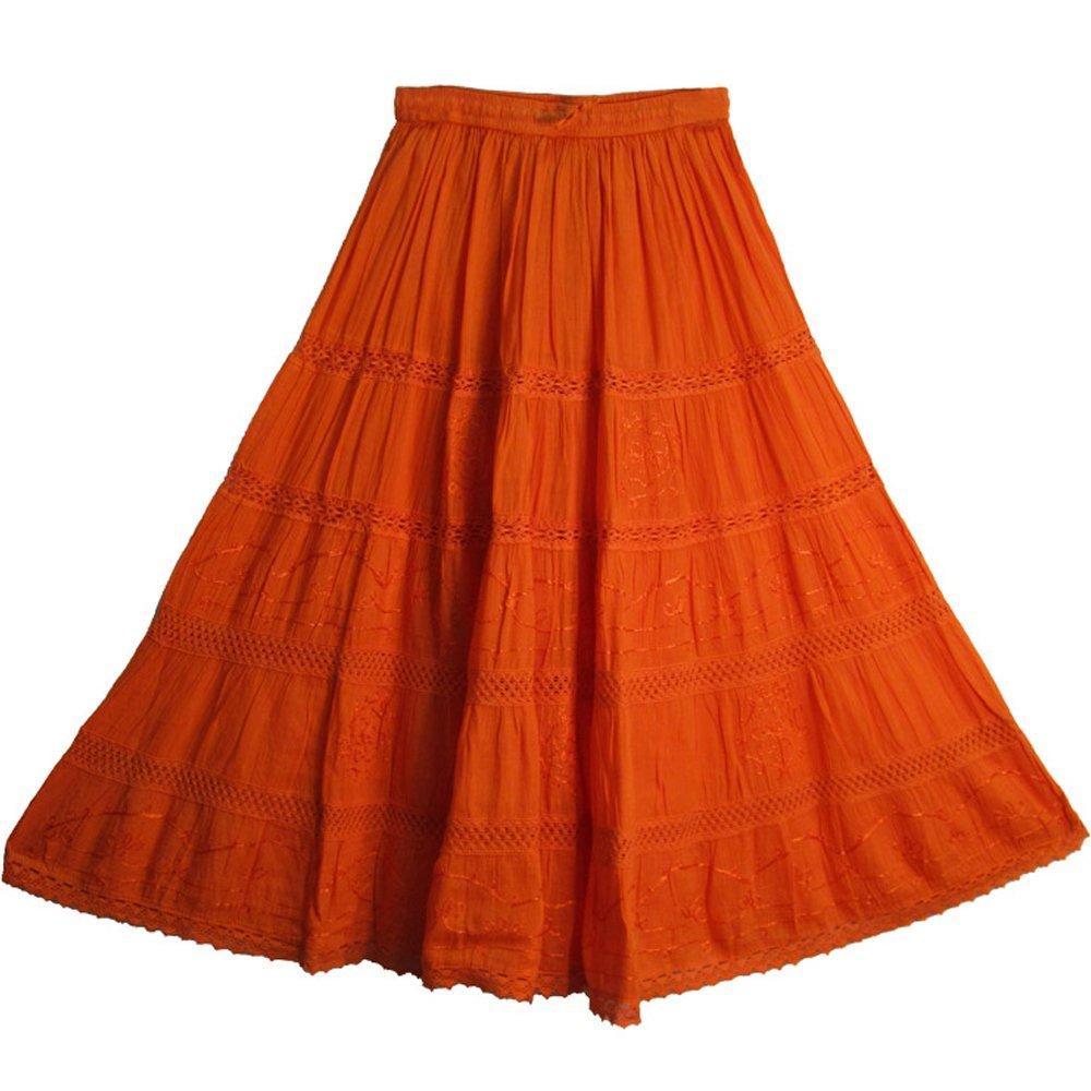 Bohemian Orange Embroidered Lace 3-tier Gauze Cotton Long Maxi Skirt