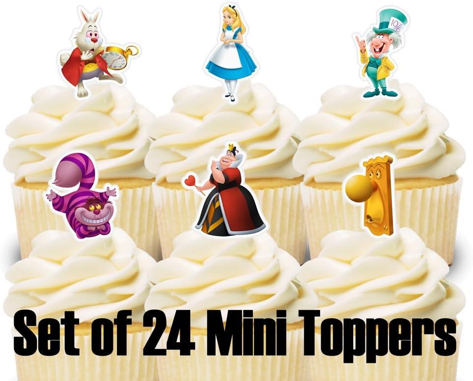 Alice in Wonderland Set 3-Cupcake Toppers set of 24-Handmade