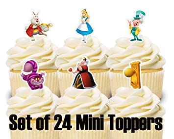 Image Unavailable Not Available For Color 24 Mini Cupcake Toppers Alice In Wonderland Birthday