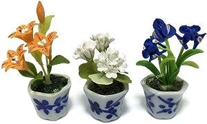 3pc Miniature Clay Flower Dollhouse Fairy Garden Mini Plant Trees Ceramic Paint Furniture Bundles Artificial Flowers Orchid #056