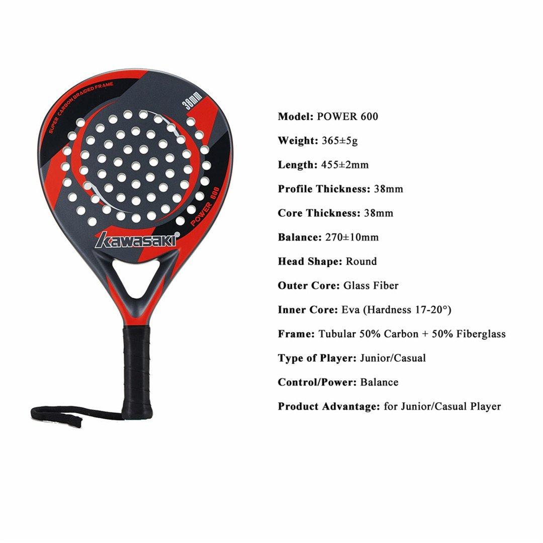 Amazon.com : Taiwanrns Power 600 Padel Racquet 38Mm Tennis ...