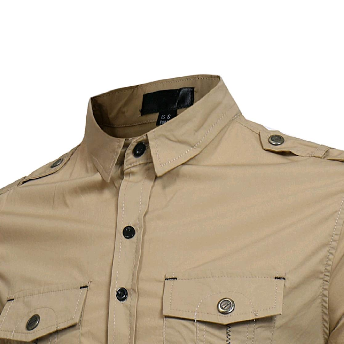 YUNY Men Army Single-Breasted Pure Color Silm Fit Tees Work Shirt Khaki XS