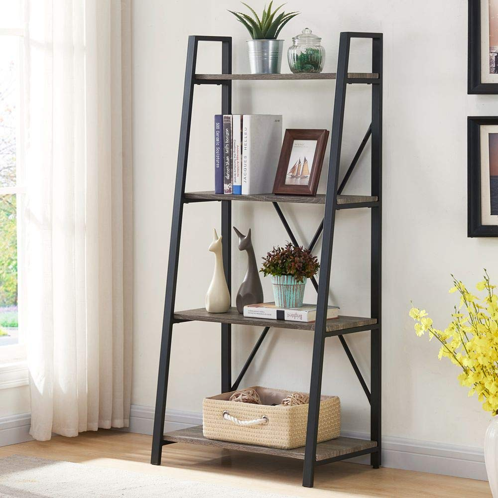 BON AUGURE Ladder Shelf 4 Tier Rustic Bookshelf, Indoor Plant Stand Storage Shelves, Metal and Wood Leaning Industrial Bookcase(Dark Oak)