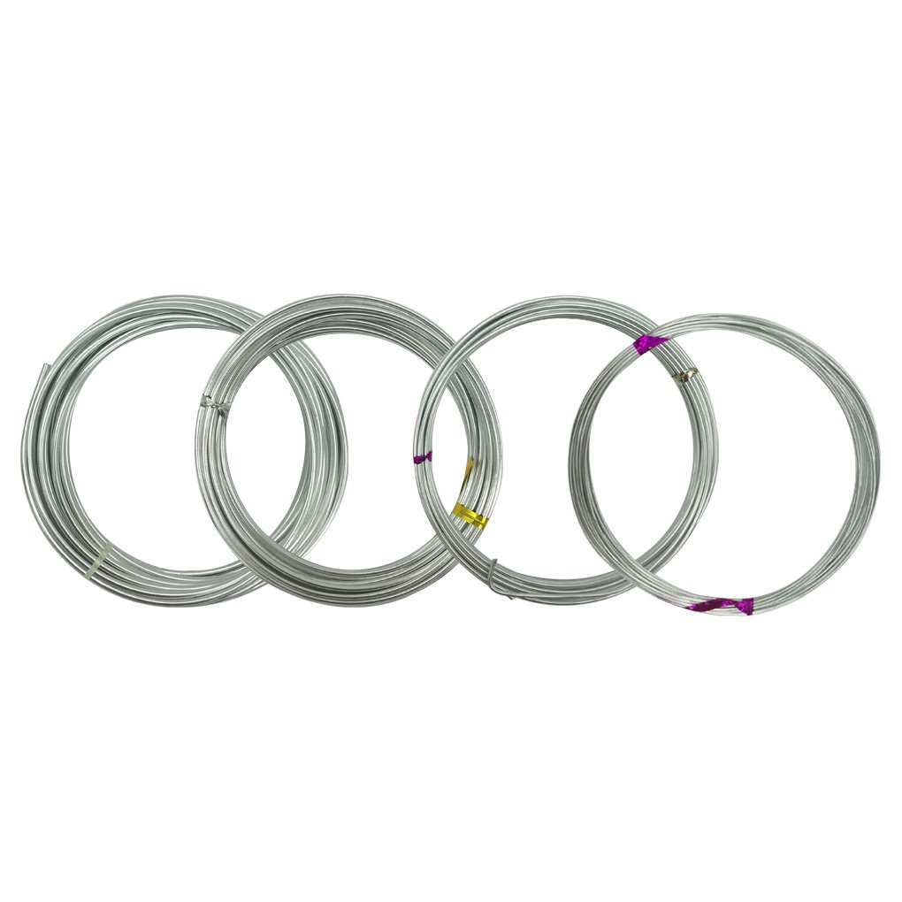 4 Rolls Bendable Metal Wire Flexible Craft Wire in 4 Sizes (1mm, 1.5mm, 2mm & 2.5mm) - HYHP Gauge Flexible Metal Wire for Various DIY Sculpture and Crafts (Each Roll: 16.4 Feet) 4336900345
