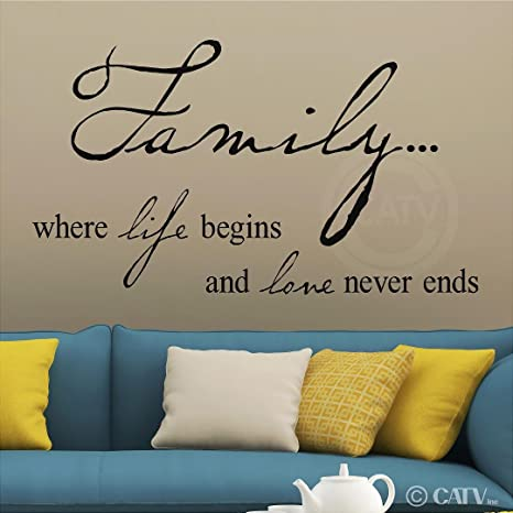 Wall Tattoo Wall Sticker Sayings Family is where life begins and LoveHallway