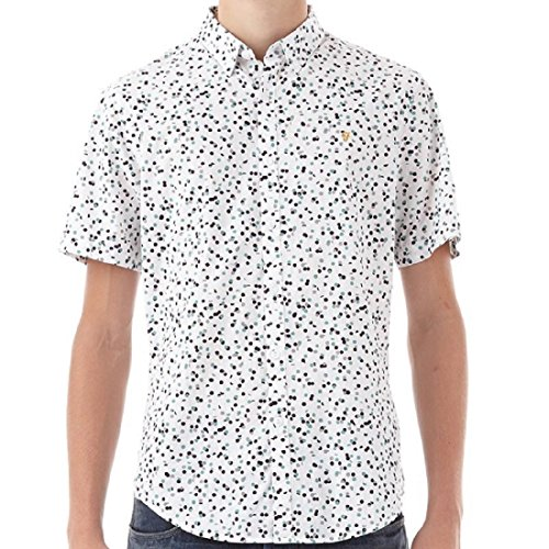 "Farah Vintage Homme Camble Slim fit Chemise Shirt Ecru Taille Moyenne (Medium Chest 38-40"")"
