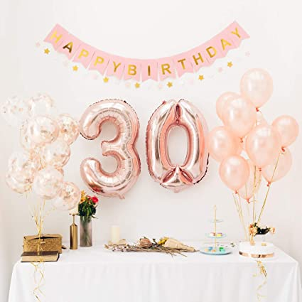MODEHOME 40 Rose Gold Number 30th Birthday Party Decorations Supplies For