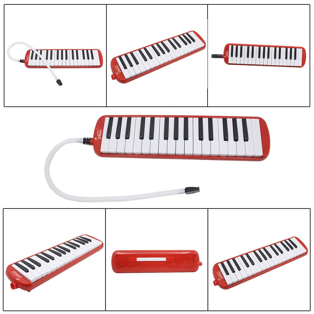 Kuyal 32 Key Melodica, Piano Style Melodica Keyboard, Musical Education Instrument For Music Lovers Beginners And Children With Mouthpiece & Hose & Bag (Red) by Kuyal (Image #2)