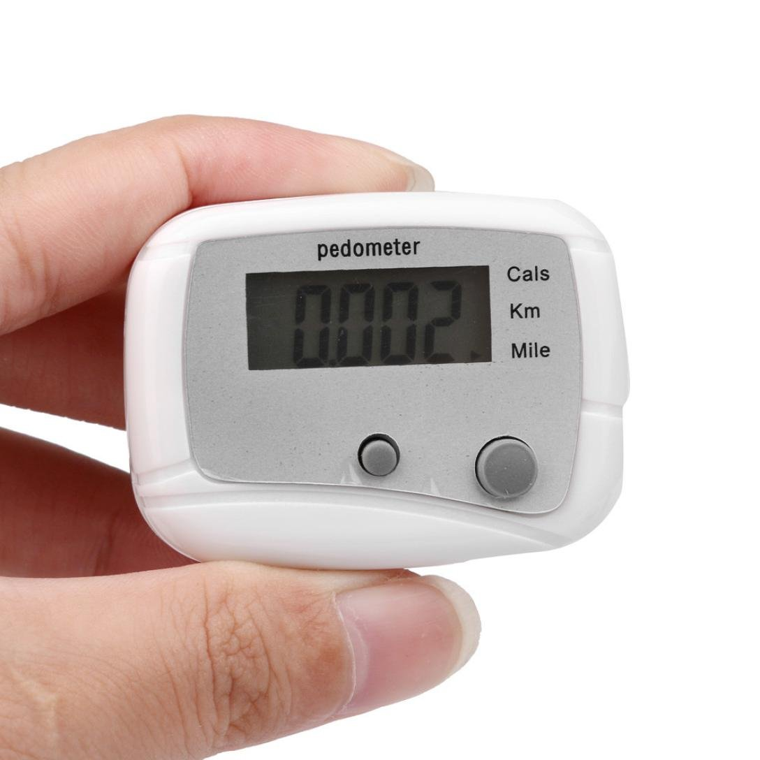 Perman LCD Pedometer Step Walking Jogging Calorie Counter Distance Fitness + Belt Clip (White)