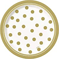 Unique Golden Birthday Plates Golden Polka Dots 8-Pieces Birthday Party Plates, Gold
