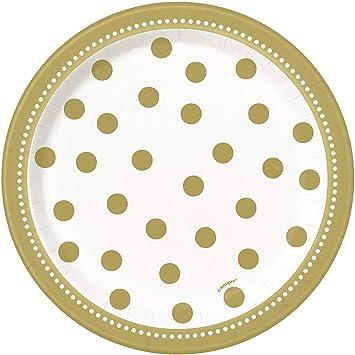 Unique Party- Platos de Papel Fiesta de Cumpleaños, 8 Unidades, Color dorado, 18 cm (49584)