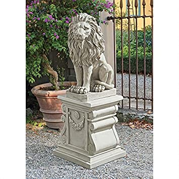 Majestic Lion Statue Sculpture Home Garden Sentinel Statue Set Of 2