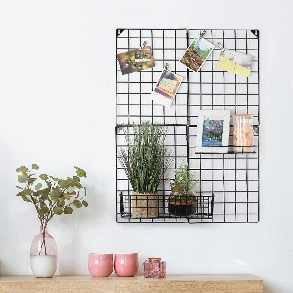 Grid Photo Wall, Multifunctional Photo Display Wall Picture Storage Organizer for Home Office Decor Dorm Decoration, 32.68'' x 23.82'', Black