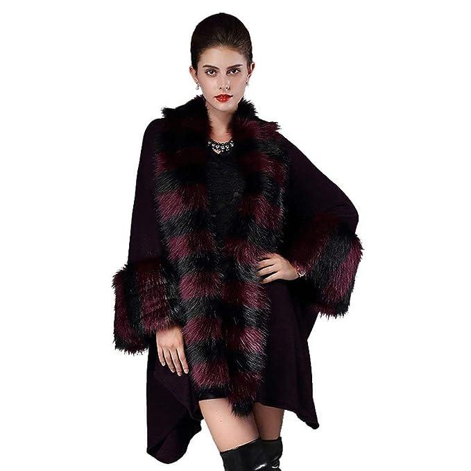 HaiDean Mujer Poncho De Piel Invierno Vintage Fashion Piel Falsa Abrigos  Capa Elegantes Manga Larga Modernas 9f6ee173f3b