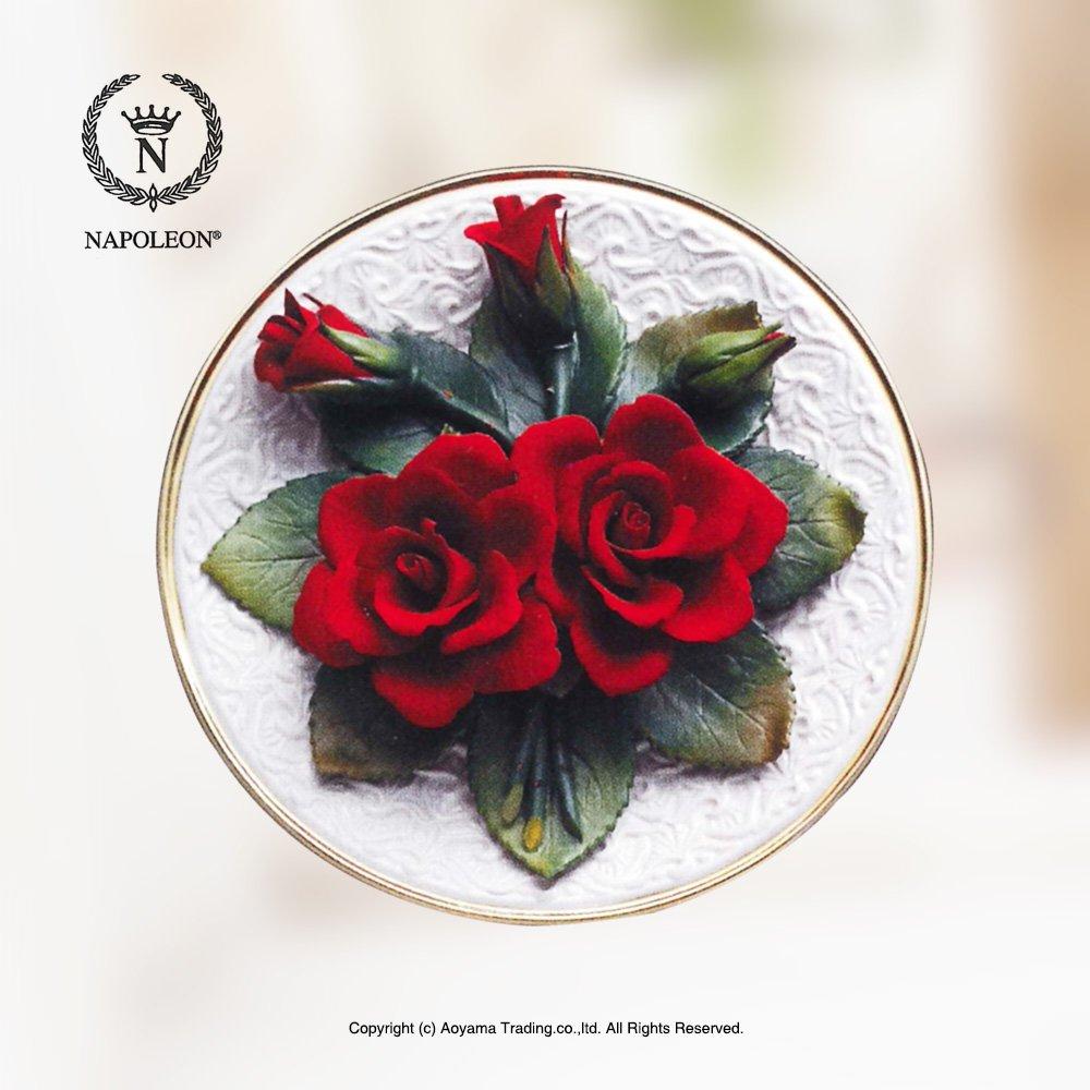 ナポレオン社 イタリア製 陶花 赤いバラ 額絵 陶器の花 B01E1YD3XG