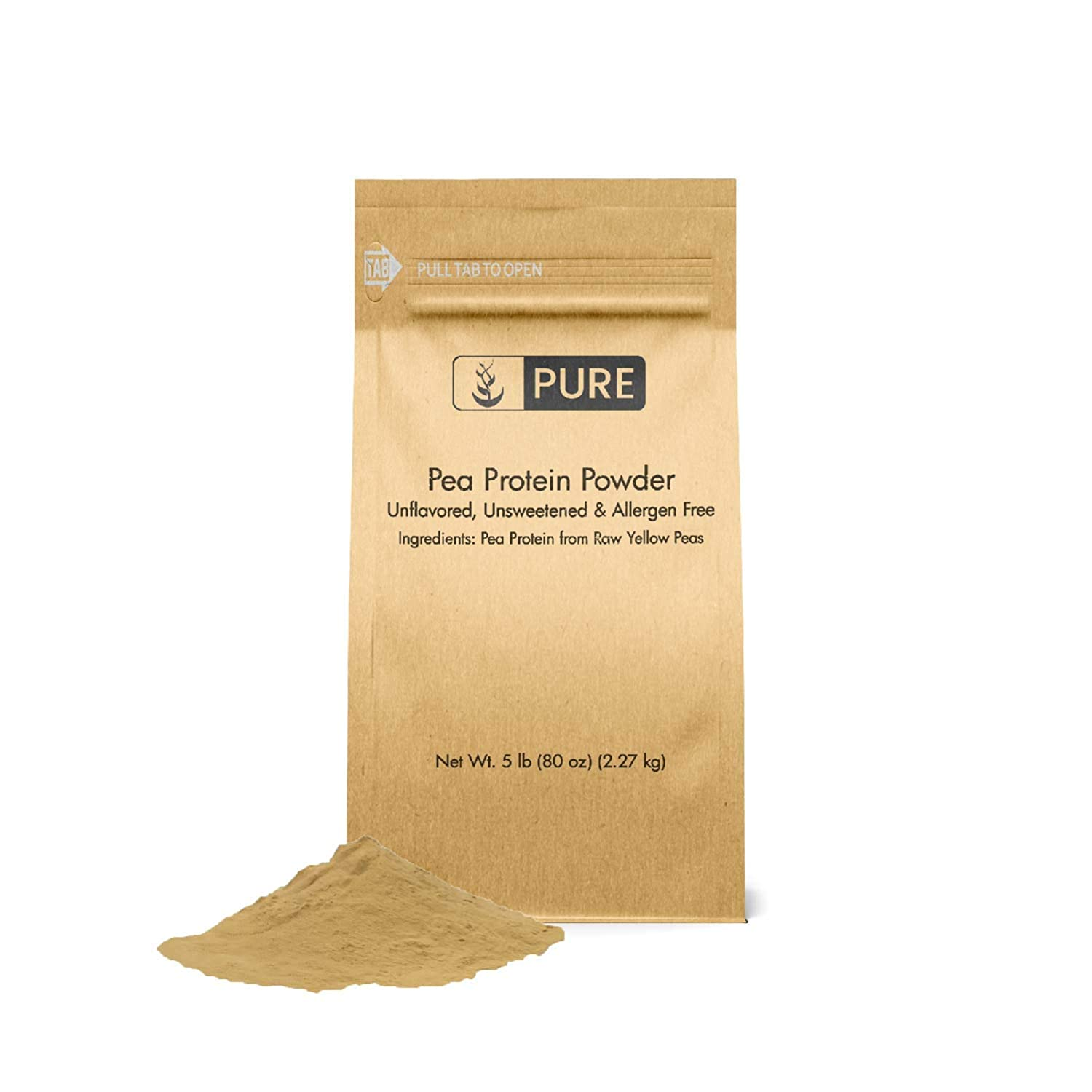 Pea Protein Powder 5 lbs by Pure Organic Ingredients, Eco-Friendly Packaging, High Quality, All-Natural, Allergen-Free