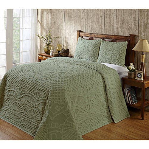 Wonderful 3 Piece Chenille (Classic Attractive Stylish Bright Full 3 Piece Sage Color Modern Geometric Pattern Bedspread Set Luxurious Bedding Cozy Warm Beautiful Fashionable Charming Vibrant Elegant Addition To Bed Room)