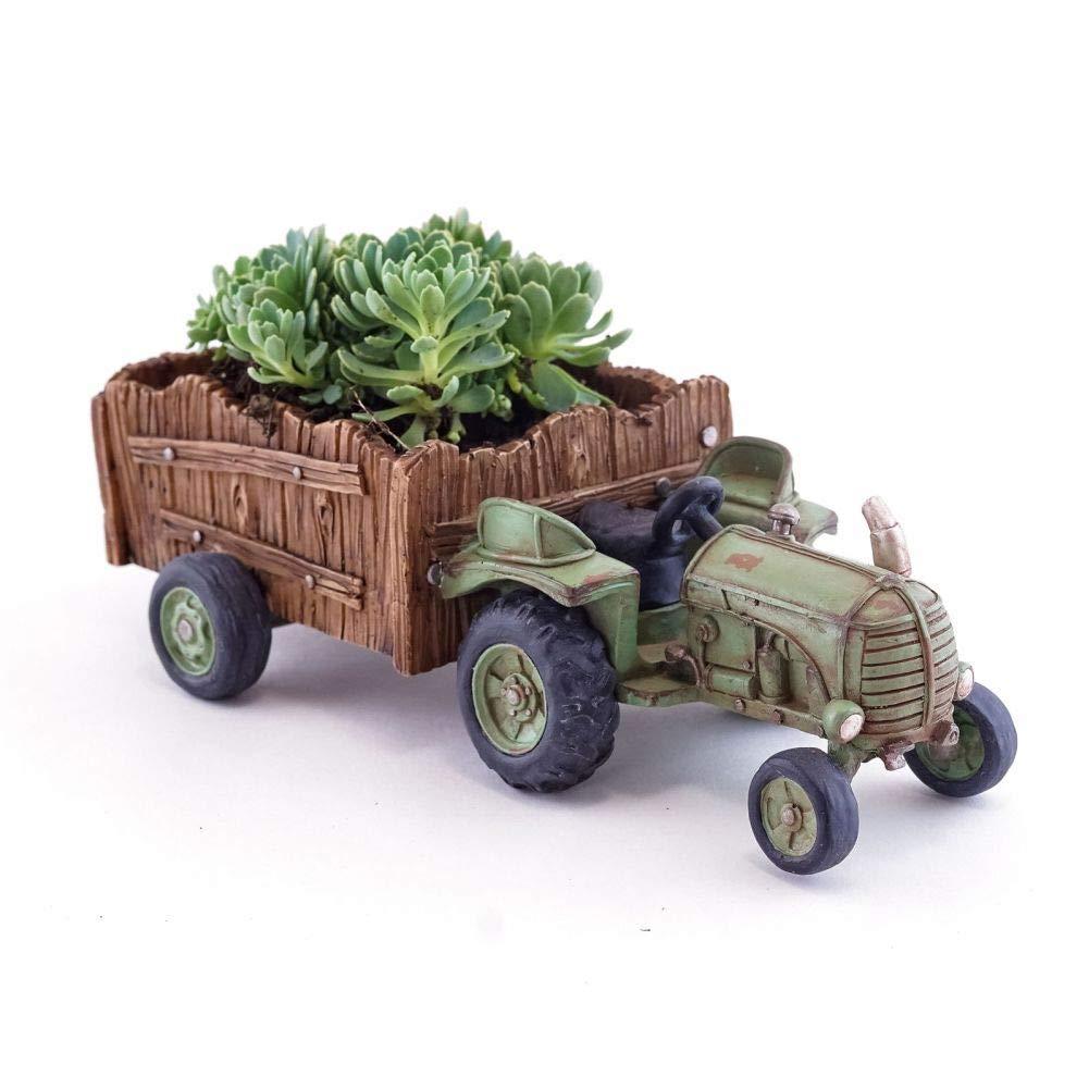 Fairy Garden Mini - Green Farm Tractor - Succulent Planter