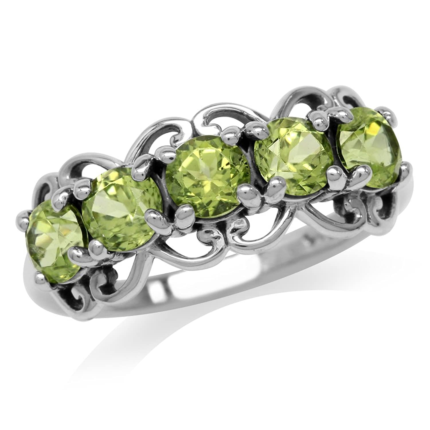 1.5ct. 5-Stone Natural Peridot 925 Sterling Silver Victorian Style Ring