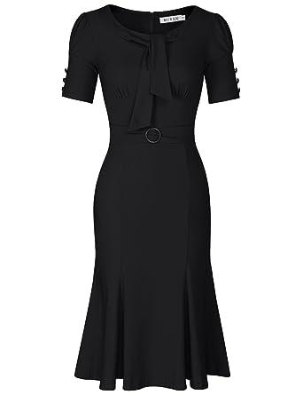 MUXXN Women s Vintage Scoop Neck Knee Length Party Pencil Dress (Black ... 5788697e96