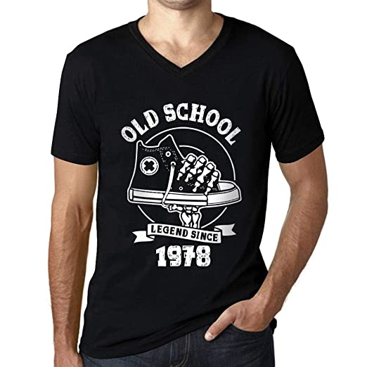 Menâ??s Vintage Tee Shirt Graphic T Shirt V Neck Old School All Star Since 1978 Deep Black