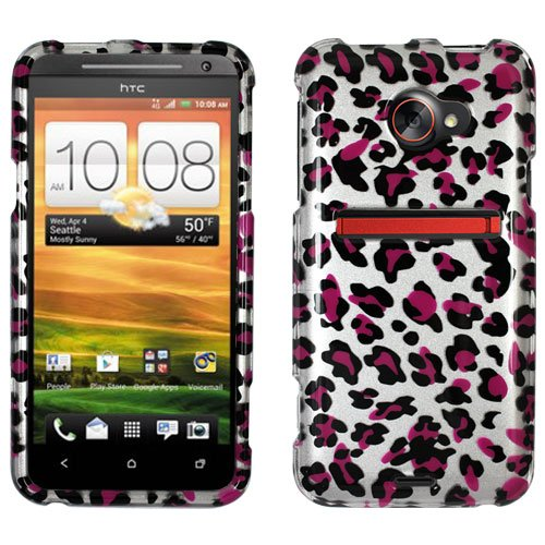 HTC EVO 4G LTE SNAP ON COVER CASE DARK PURPLE LEOPARD SKIN PATTERN 2D CRYSTAL CLEAR (Evo Crystal 4g Htc)
