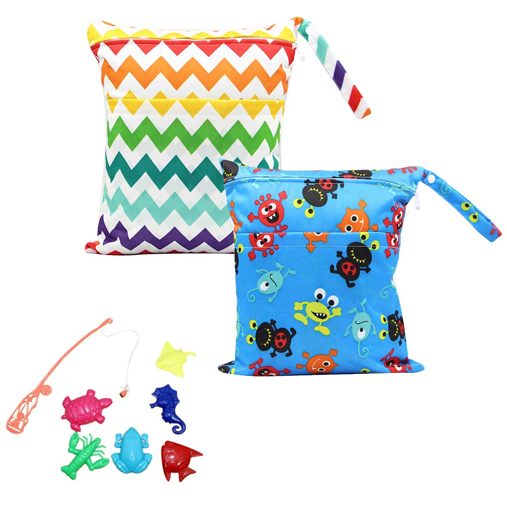 Minuya Baby Diaper Bag Waterproof Zipper Bag Washable Reusable Baby Cloth Wet Bag Double Layer Double Zipper for Traveling, Swimwear, Wet or Dry Clothes Storage Bag 2pcs/Pack
