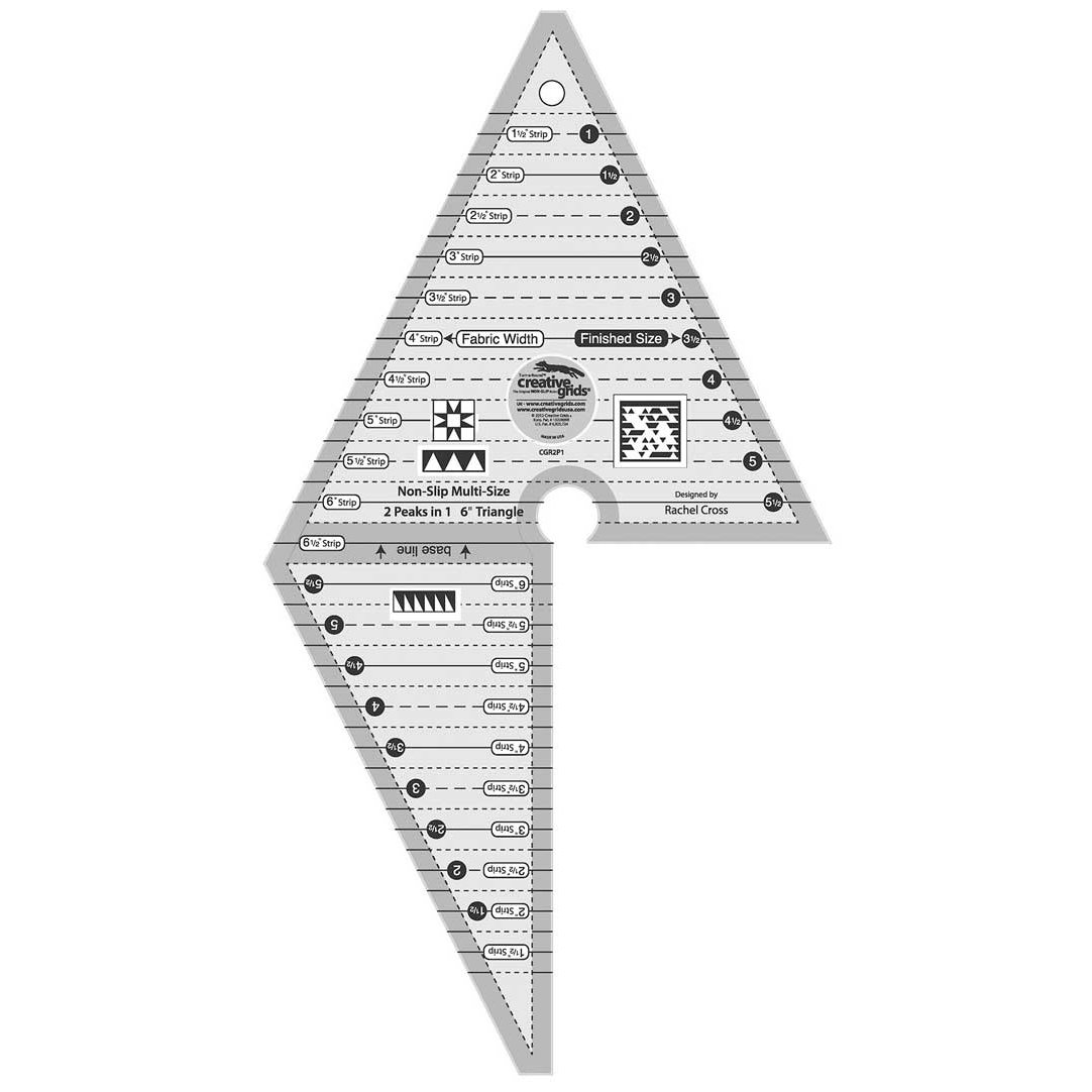 Creative Grids 2 Peaks in 1 Multi-size Triangle Quilting Ruler Up to 6-Inch Finished Size CGR2P1