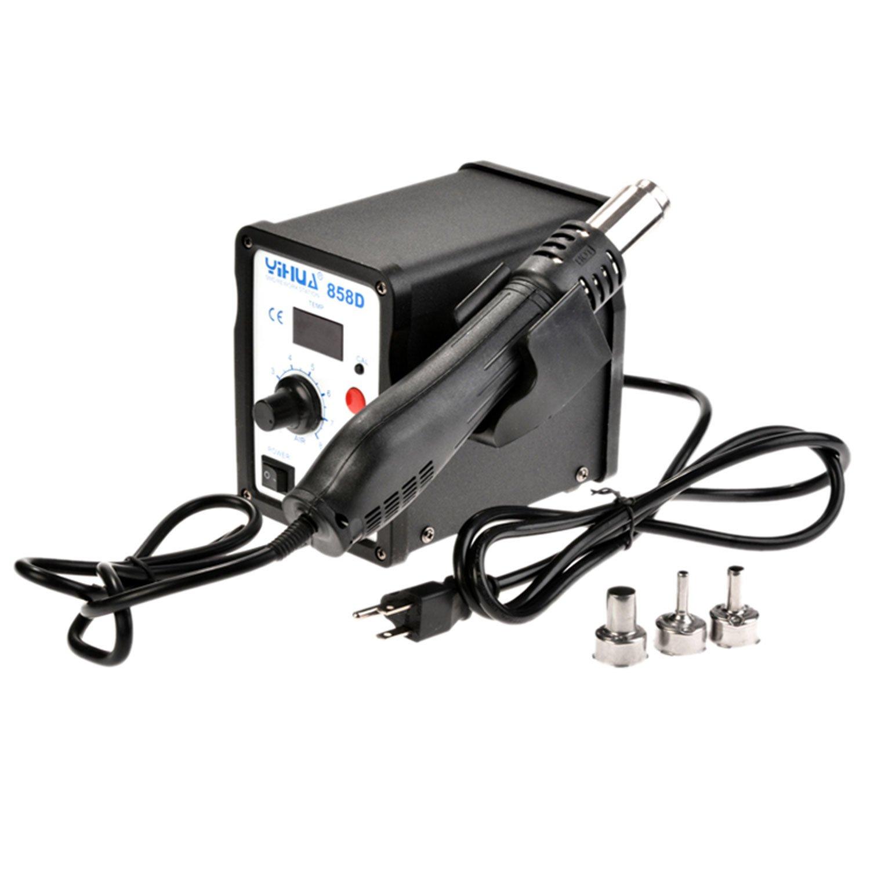 Voluker 858D LED Hot Air Gun Digital Power Heat Gun Electronic Soldering Rework Station SMD Welding Blower 110V, 650W