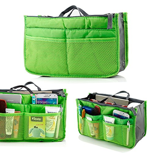 GEARONIC TM Lady Women Travel Insert Organizer Compartment Bag Handbag Purse Large Liner Tidy Bag - Green (Green Insert)