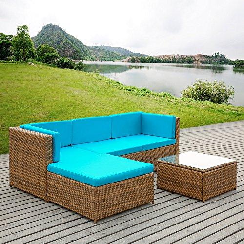 [iKayaa 5PCS Rattan Wicker Patio Sofa Set Garden Furniture W/ Cushions Outdoor Corner Sectional Couch Set] (Garden Sofa)