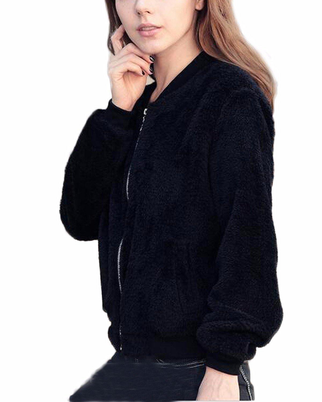 Auxo Mujer Corta Chaqueta De Pelo Suave con Cremallera Casual Abrigos Capa Invierno Negro ES 38/Asian M: Amazon.es: Ropa y accesorios