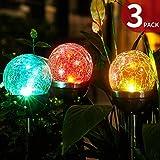 FC-Fancier Solar Powered Crackle Glass Ball,for Outdoor Garden Led Light Landscape / Pathway Lights,Color Changing and White,Weatherproof Design,3 Pack