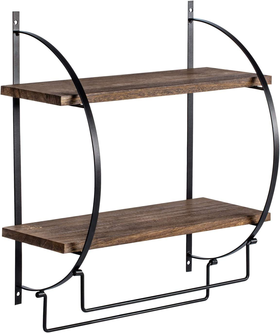 """Y&ME YM 2 Tier Bathroom Storage Shelf with Towel Bars Wall Mounted, Wood Floating Shelf with Towel Rods for Bathroom and Kitchen, 13.4"""" L x 5.5"""" W x 15"""" H"""