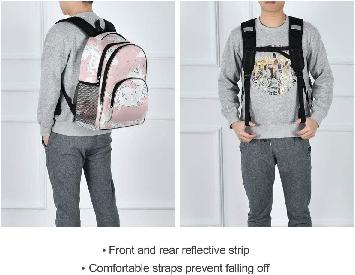 School Computer Bag with USB Charging Port Fits 15.6 Inch Notebook FANTAZIO Welcome to Party Unicorn Travel Laptop Backpack