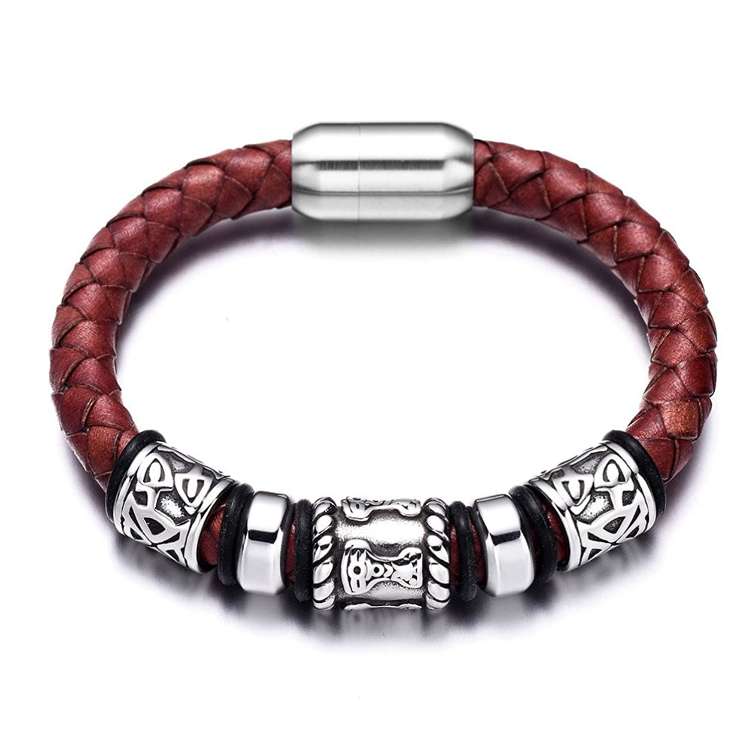 Medieval Stainless Steel Beads Wine Red Braided Genuine Leather Bracelet - DeluxeAdultCostumes.com