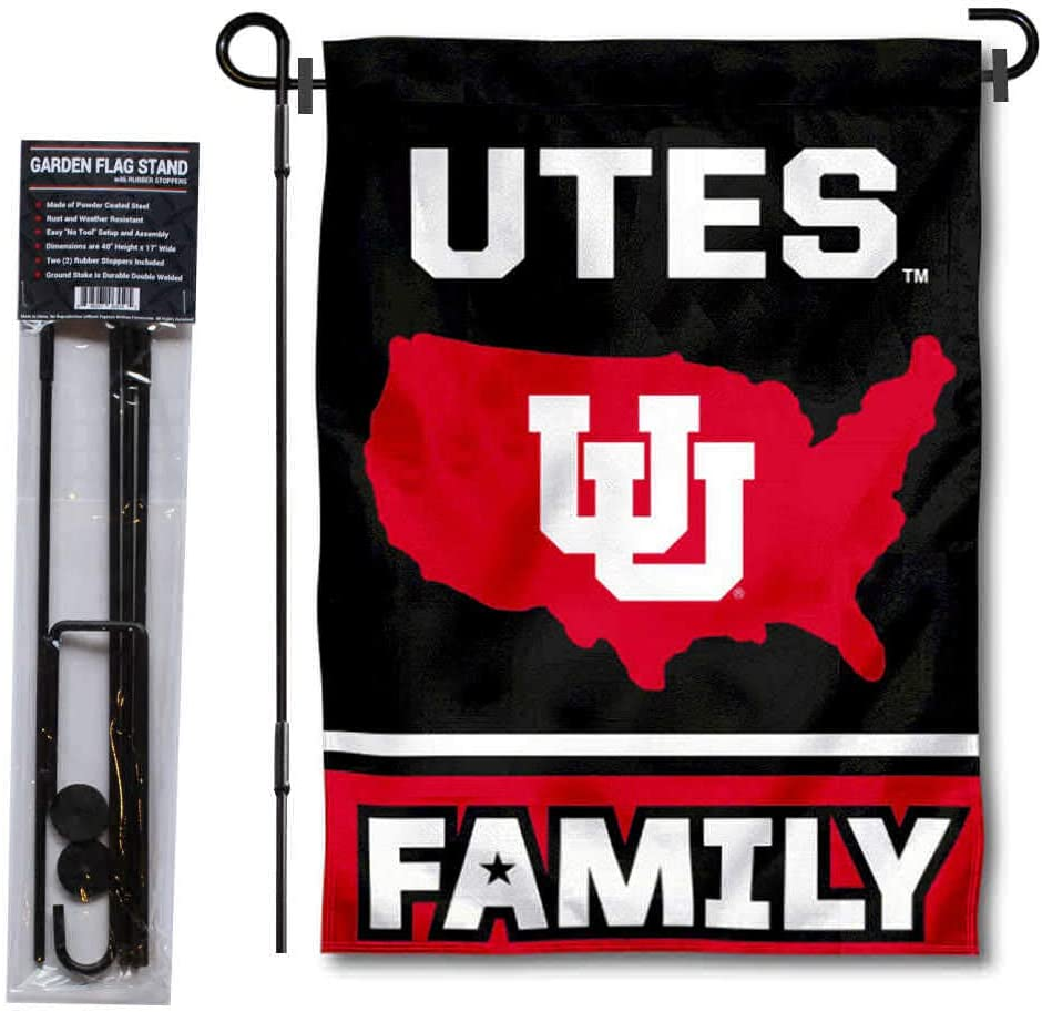 College Flags & Banners Co. Utah Utes Garden Flag with USA Country Stars and Stripes and USA Flag Stand Pole Holder Set