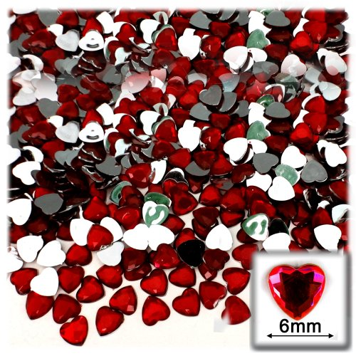 The Crafts Outlet 144-Piece Flat Back Heart Rhinestones, 6mm, Devil Red Wine