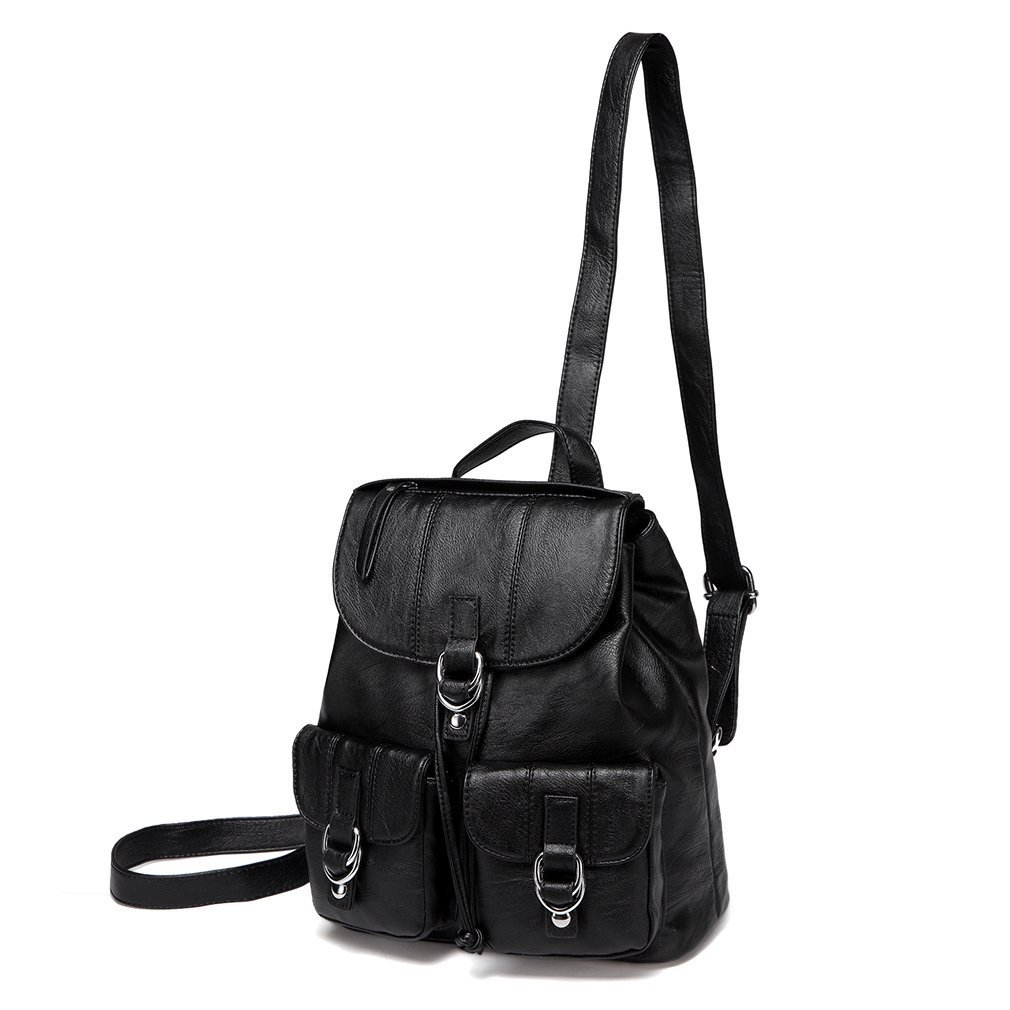 VASCHY Mini Backpack Purse for Women, Fashion Faux Leather Buckle Flap Drawstring Backpack for College with Two Front Pockets Black