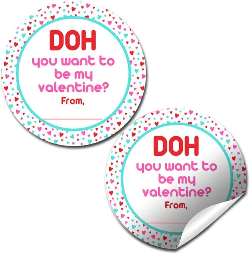 Be My Valentine Dough Container Topper Party Favor Sticker Labels for Kids, 60 1.5
