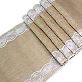 Table Runner Burlap with Vintage Lace Hessian Jute Table Runners for Country Outdoor Rustic Wedding Party Decoration, 12 x 108 Inch