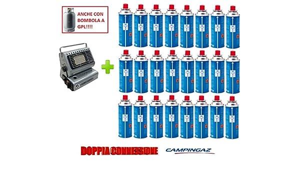 Estufa estufa a gas portátil doble casquillo GPL/Butano + 24 cartucho original Campingaz (): Amazon.es: Jardín