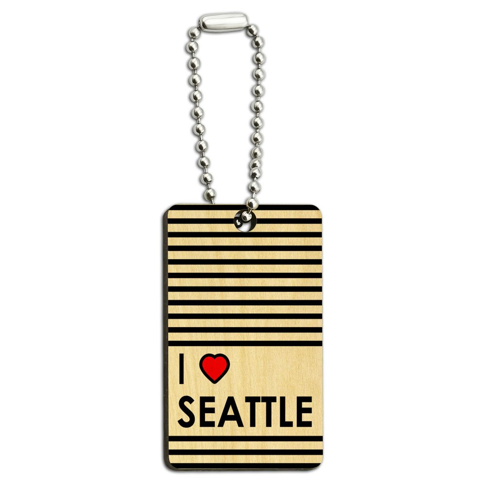 Graphics and More I Love Heart Seattle Washington Wood Wooden Rectangle Key Chain